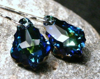 Teal Baroque Earrings ... Vanquish ... Swarovski Custom Blue Green Drop on Sterling Silver Scrolled Long  Romantic