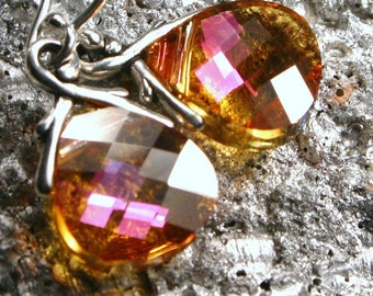 Bright Neon Pink & Yellow Crystal Earrings Summer Blush Swarovski Crystal Briolette Sterling Silver Sunny Small Petite Dangle Gifts Under 25