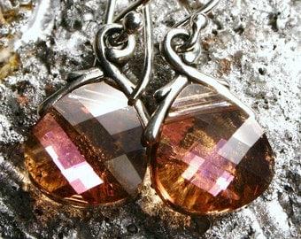 Mauve Pink Crystal Earrings Golden Flash Flat Teardrop Briolette Drop Handmade Petite Dangle Summer Sparklers Puce Metallic Shimmer Pink