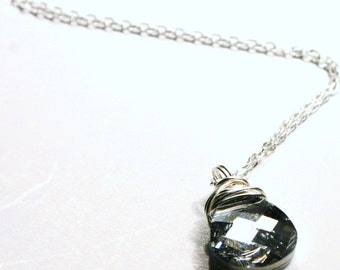 Metallic Silver Classic Flat Brio Swarovski Crystal CAL Wrapped in Sterling ... Raindrop  ... Whip-poor-Will - Gift Under 30