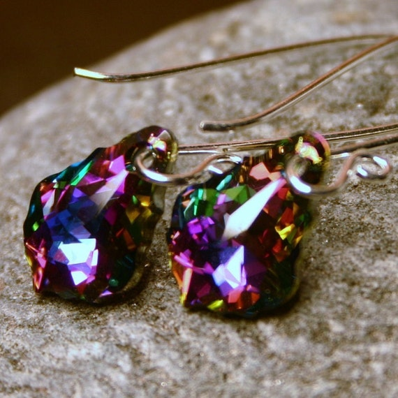 Rainbow Crystal Earrings Swarovski Baroque Bright Colorful Deep Fuchsia Teal Purple Carnival Sterling Silver Fancy Scroll Elongated Sparkler