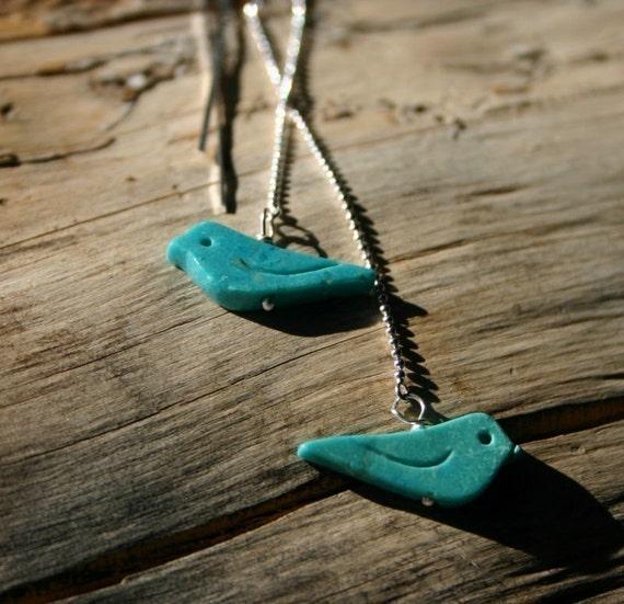 Oiseau - Turquoise Bird Fetish Threader Earrings