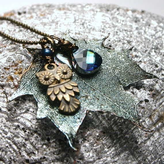 Preserved Sugar Maple in Oxidized Silver with Wise Old Owl and Swarovski Crystal ... Necklace ... The Wise One