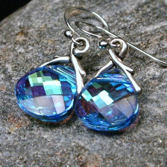LAST PAIR Magpie ... Aquamarine AB Swarovski Flat Briolette ... Petite Dangle Earrings - Retiring Color