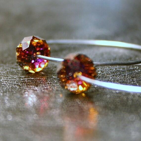 LAST PR. Red Fuschia Hoop Earrings - Fireball ... Swarovski Fiery Volcano Simple Drop on Delicate Sterling Silver Circle - Women's Jewelry