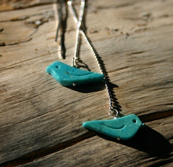 LAST PAIR Oiseau ... Turquoise and Sterling Silver Long Threader ... Bird Earrings