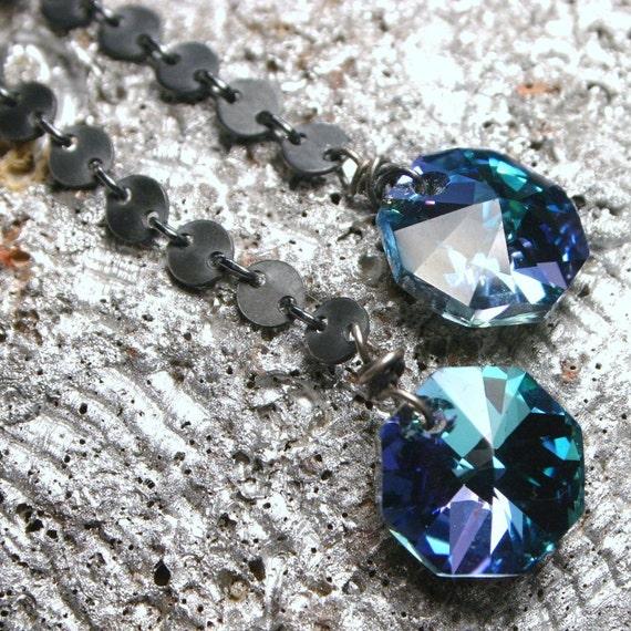 LAST PAIR Long Aqua Blue Earrings ... Swarovski Crystal Rare Vitrail Octagon on Dark Ox Sterling Circle Chain - Gifts Under 30