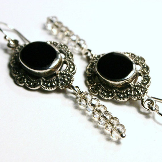 Earrings Marcasite, Black Onyx & Swarovski Stacked Silver Shade ... Long Crystal Art Deco on Sterling Silver ... The Portrait