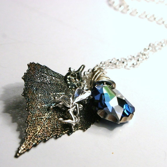 Preserved Birch Leaf in Oxidized Silver with Sterling Wood Nymph Fairy Charm & Teal Blue Green Swarovski Crystal ... Necklace ... Fae