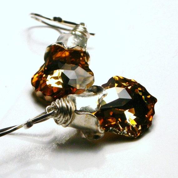 Alchemy ... Golden Baroque Swarovski Crystal Aurum Gold and Fine Silver ... Handmade Floral Earrings
