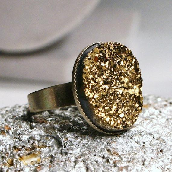 Sirius ... Metallic Gold Titanium Drusy Quartz on Antiqued Silver ... Adjustable Druzy Ring