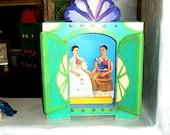 MEXICAN FOLK ART FRIDA KAHLO SHRINE ORIGINAL HANDMADE SHADOW BOX PUPPET THEATER woodworking