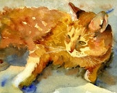 Orange Tabby Cat | watercolor painting print | cat lovers gifts