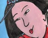 "Japanese Art, Geisha Art 12x16"" matted art, chinese red, bright blue"