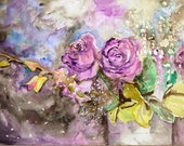 Purple Rose watercolor Painting art | lilac lavender orchid | floral print | FRAMEABLE PRINT