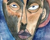 Tribal Art African Art Original Watercolor Painting, blue,  coffee brown