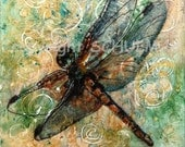 Dragonfly Art | Modern Abstract Contemporary Watercolor Painting art | jade green yellow gold green home decor