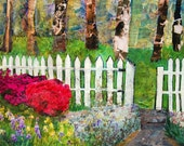 "Original garden art |  collage canvas painting 16x20"" white picket fence 