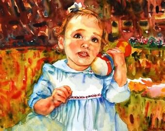 custom baby portraits in watercolor  custom portrait
