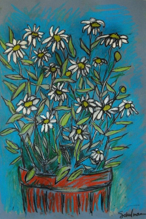 Original Pastel Botanical drawing on paper, Botanical art, Potted white Daisies, teal, terracotta, green blue aqua home decor