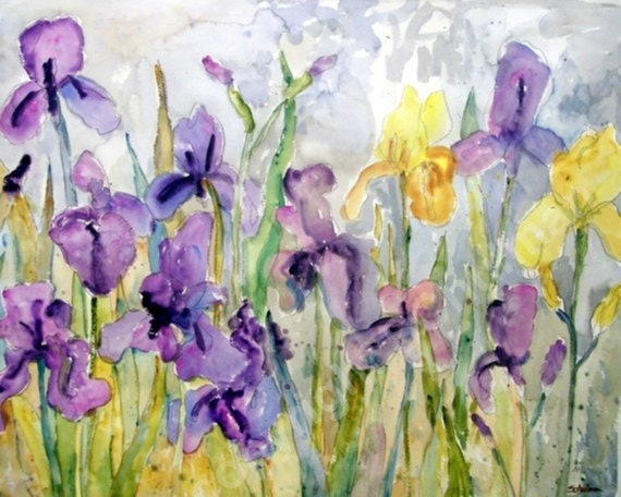 Irises Flower Painting Purple Amp Yellow Irises Flowers