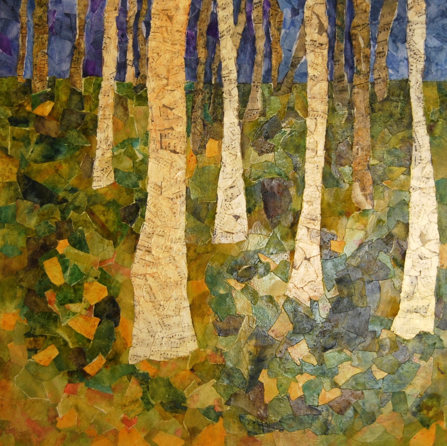 Birch Tree Wall Art Mixed Media Collage Canvas Painting