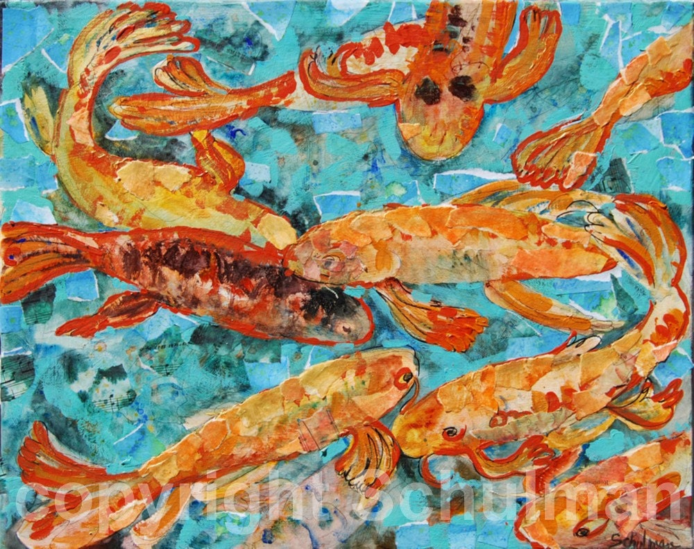 Koi fish carp art painting print mixed media by schulmanarts for Blue and orange koi fish