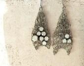 Wire Crochet Earrings Medieval Bride Renaissance Wedding Jewelry