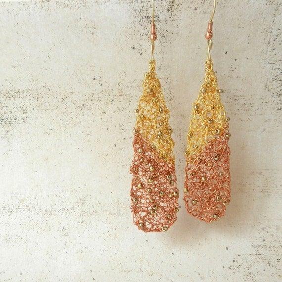 Wire Crochet Earrings Copper Gold Teardrop Dangle Women's Jewelry