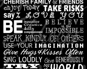 INSTANT DOWNLOAD Printable Subway Art Family Rules 24x36