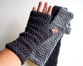 Gray Long Fingerless Gloves or Arm Warmers Grey or Dark Charcoal