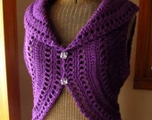 Purple Crochet Ladies Circle Vest or Sleeveless Shrug