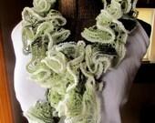 Green Ruffle Scarf Handknit Lacy Scarf