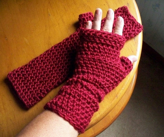 Long Red Fingerless Gloves or Arm Warmers Autumn Red