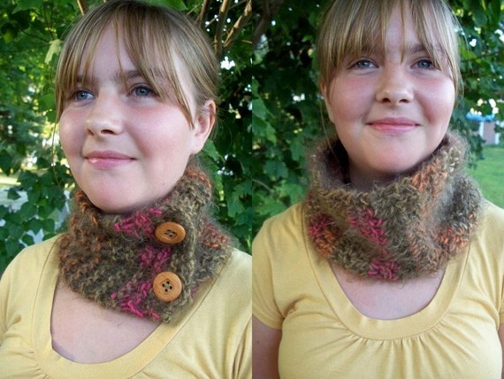 Soft Brown Scarflette or Cowl Knit or Crochet  You Pick