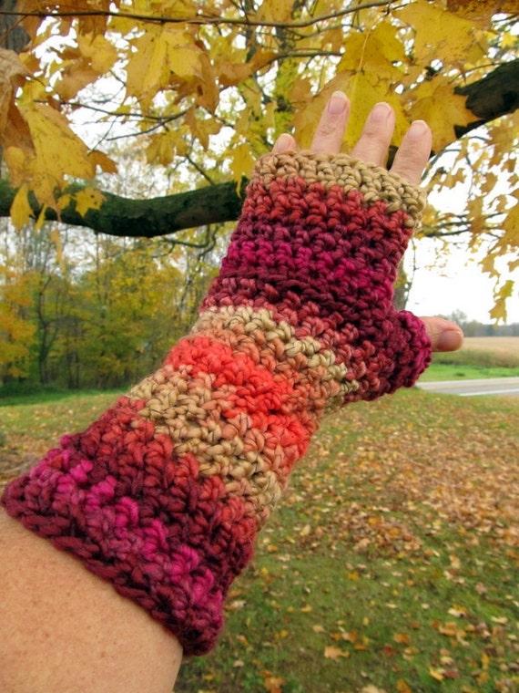 Road Trip Striped Fingerless Gloves in Crochet Pink Rust