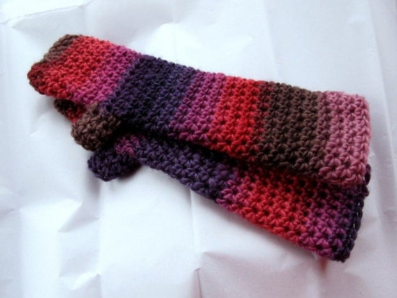 Long Arm Warmers Fingerless Gloves Purple Red Raisin Striped Soy Wool