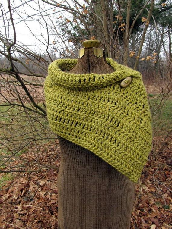 Lotus Green Button Wrap Shawl