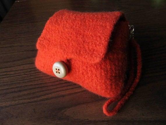 Wristlet Purse Orange Felted Wool Wristlet Crochet Clutch Purse