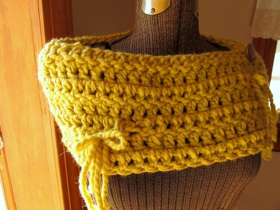 Yellow Button Wrap Crochet Capelet Button Scarf or Cowl with Bows