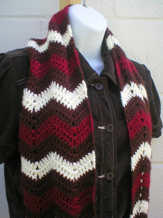 Crocheting Zig Zag Pattern : Zig Zag Scarf Crochet Pattern PDF by LazyTcrochet on Etsy