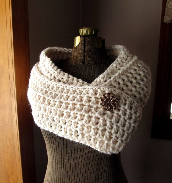 Long Loop Circle Scarf in Cream Chunky Crochet Wrap or Cowl