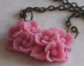 Flower Swag Necklace, Pale Pink, Feminine, Dainty, Romantic, Valentines Day
