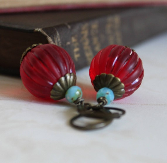 Sale Dangle Earrings, Beaded, Red and Turquoise, Ruby Red, Winter Berry, Holly Berry, Festive