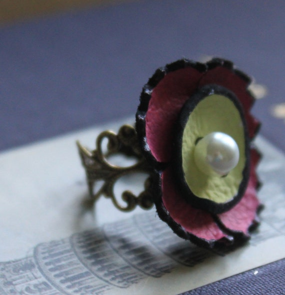 50% off SALE - Cocktail Ring, Filigree, Leather Flower, Burgundy and Lime, Pearl
