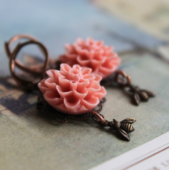 Garden Party Dangle Earrings, Pink Chrysanthemum, Bee, Natural History, Mothers Day