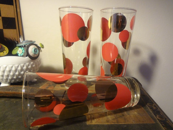 3 Russel Wright Eclipse Glasses. Rare Retro Polka dot Glasses.
