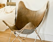 Custom Hardoy Butterfly Cowhide Chair Cover. WhiteWash Home Collection.
