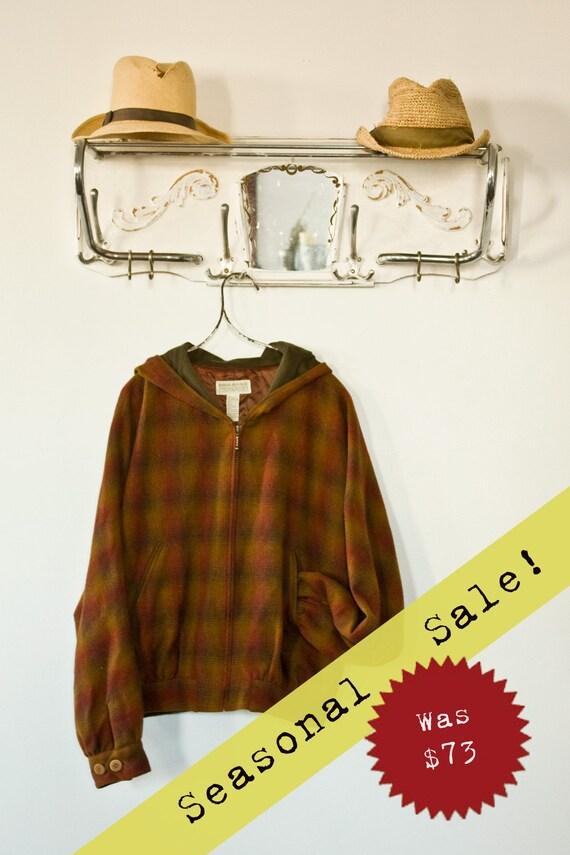 ON SALE: Vintage 1980s Banana Republic Gingham Plaid Hoodie Jacket Wool Sz L