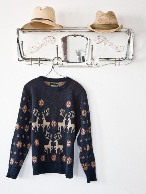 Vintage Deeir Print Knit Sweater Sz S/M 1960s
